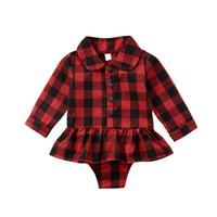 roter plaid langer rock großhandel-Red Plaid Neugeborenen Baby Mädchen Langarm Baumwolle Körper Anzug Tutu Umkleidet Body Overall Outfits Baby Kleidung 0-24 Mt