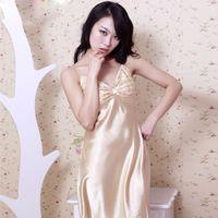 vestido de noche de seda blanco al por mayor-Sling Satén camisón de imitación de seda Seda Camisón de satén para las mujeres Ropa de noche Ropa de dormir Camisa de dormir blanco Inicio vestido SY006 # 10