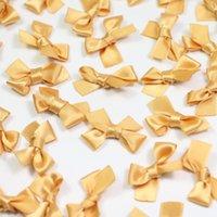 ingrosso archi di raso d'oro-30 * 25mm oro seta raso mini nastro di raso piccoli archi capelli applique mestiere decorazione artificiale per baby shower festa di nozze 1000 pz