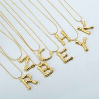 Wholesale gold chain designs for women - 26 Designs Europe and America Newest Fashion Women Necklace Yellow Gold Plated Letter Pendant Necklace for Girls Women for Party Wedding