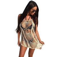 90505ddf5cd31 Boho Women Transparent Swimwear Crochet Swim Cover Up Solid Hollow Out  Tunic Beach Dress Sleeveless Asymmetric Loose Beach Wear