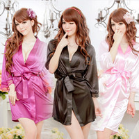 Wholesale Home Sexy Woman Robe - Bathrobe Women Bridesmaid Robes Soft Sexy Short Kimono Robe Home Dressing Gown Half Sleeve Silk Wedding Robes Peignoir