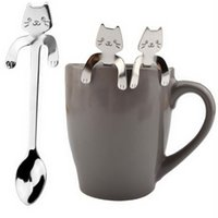 Wholesale cute ice cream accessories online - 1 Piece Cute Cat Pattern Flatware Spoons Ice Cream Tea Long Handle Spoon Flatware Drinking Tools Kitchen Gadget Coffee Cup Accessories