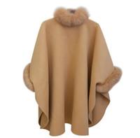 collar de pie capa poncho al por mayor-Abrigo de lana de moda para mujer Abrigo de piel para la ropa de mujer Suéter flojo de invierno Rebeca de manga murciélago Abrigo de punto Poncho de abrigo Abrigos largos
