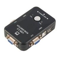 monitorización del teclado al por mayor-¡en stock! 2 puertos USB 2.0 VGA / SVGA KVM Switch Box para compartir monitor Teclado Ratón Lo más nuevo en envío