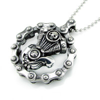 Wholesale heavy pendants for men resale online - Heavy Bicycle Chain Skull Engine Pendant Stainless Steel Jewelry Skull Cross Motor Biker Men Pendant Include the chain for Free