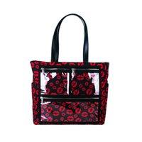 ingrosso borsa porta labbra-Commercio all'ingrosso stampa del leopardo display Lips Tote Bag ShowOff Olio essenziale di trasporto borsa del PVC WOW Canvas Tote Bag manico in pelle DOM-108.576