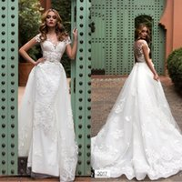 Wholesale wedding tulle brush dresses online - 2018 New Arrival Lace Short Sleeves Wedding Dresses With Overskirts Backless Brush Train Plus Size Bridal Dress BA7595