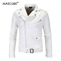Wholesale lether jacket men - MASCUBE Mens White Color Lether Jackets Coat Autumn Masculinas Inverno PU Jacket Jaquetas De Couro Motorcycle Leather Jacket