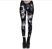 ingrosso gambali del cranio nero-Hot Sell Skull Leggings Donna Skullflower Black Leggings Pantaloni con stampa digitale 7 colori skull Donna Stretch Pants Plus Size
