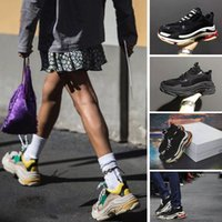 Wholesale Elevator Sneakers - New Triple S Shoes Men Women Sneaker High Quality Mixed Colors Thick Heel Grandpa Dad Trainer Triple-S Casual Shoes With Logo Elevator Shoes