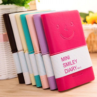 Wholesale leather journals for sale - Group buy Smiley Diary Notebook Creative Smiley Face Leather Notepad Agenda Journal Travel Mini Note Pads Stationery Promotion Gifts