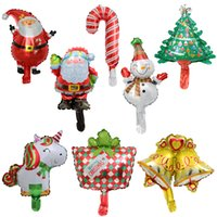 mini ballons en feuille achat en gros de-Mini Licorne De Noël Santa Canne Ballon Bonhomme De Neige Petite Bell Arbre Ballons En Aluminium Feuille Célébrer La Fête Décore