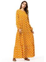 elbise kalemi toptan satış-187290 Kaftanlar Büyük Boy Moslimvrouwen Jurk kadın Sonbahar Yeni Dalga Noktası Gevşek Büyük Kalem Baskı Uzun Elbise Vestido De Mujer Musulmana