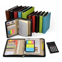 Wholesale pocket spiral notebook resale online - Zipper Notebook Spiral Not Business Office Organizer Agenda Journal Notepad folder manager with calculator ruler pocket