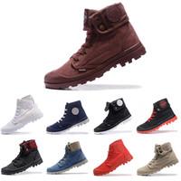 botines de lona para hombre al por mayor-Tamaño 36-45 Nueva marca de paladio Hombres cálidos Botas altas Botines militares para hombre Zapatillas de lona para hombre Zapatillas de deporte casuales antideslizantes