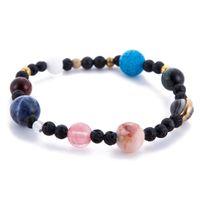Wholesale dropshipping bracelet - 2018 New Handmade Solar System Bracelet Universe Galaxy The Eight Planets Star Natural Stone Bead Bracelets Bangles Dropshipping