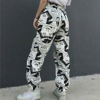 ingrosso pantaloni a forma di gamba nera larga-Pantaloni SHENGPALAE Pantaloni Europei e Americani Strada Hip-Hop Easy Movimento Uomini E Pantaloni Pantaloni da Donna Per Il Tempo Libero FF921