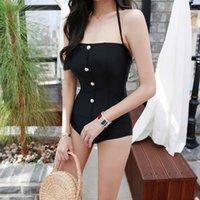 körperformung für frauen großhandel-Frauen Körperformung Badeanzug Black Pearl Solids über dem Schulterdraht gerafftes Bandeau Badeanzug