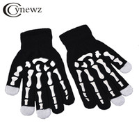 Wholesale Skeleton Touch Screen Gloves - Knitted Gloves Touch Screen Guantes Creative Fluorescence Skeleton Warm Quality Black Gloves Men Women Mitten Casual