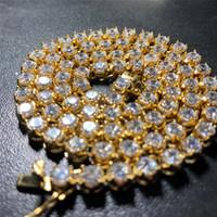 colar de tenis de ouro amarelo venda por atacado-Nova Moda Na Moda High End Homens Colar De Hip Hop PVD Banhado A Ouro Amarelo Aço Inoxidável 4mm CZ Aço Colar de Tênis para homens