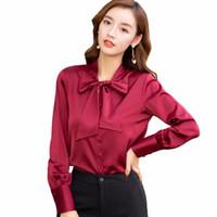8d7f057e422 Новые женщины шелковые атласные лук блузка Полный рукав дамы офис случайные  рубашки элегантный работы белый блузки рубашка 2018