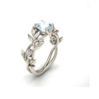 hoja de plata vintage de moda al por mayor-Moda de color plata flor de cristal Vine Leaf anillos del diseño para las mujeres Femme anillo Vintage joyería declaración regalo del amante