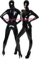 xxl traje de gatos preto venda por atacado-Unisex Sexy Preto PVC Bodysuit Trajes Sexy 9 Cor Brilhante PVC Terno Catsuit Trajes Unisex Trajes Cosplay Com Os Olhos Abertos e boca DH230