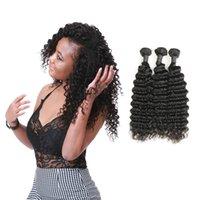 paquetes de pelo brasileño de 28 pulgadas al por mayor-Brazilian Deep Wave 3 Bundles Deals 100% armadura de cabello humano Non-Remy Hair Extension Natural Black 10-28 inch
