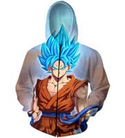 ingrosso cappuccio con cappuccio-Pullover con cappuccio con cerniera 3D Pullover con anime Dragon Ball Z Goku stampa 2018 con cappuccio New Hoody With Cap con pullover da uomo