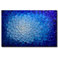 blumendekoration für zu hause großhandel-Moderne Kunst handgemalte abstrakte blaue Blumen Bilder auf Leinwand Wandkunst für Wohnzimmer Schlafzimmer Home Decor