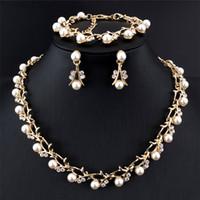 Wholesale Girls Indian Dresses - Popular Women's Imitation Pearl Jewelry Set Elegant Necklace Earring Bracelet Set For Royal Wedding Dress Accessory