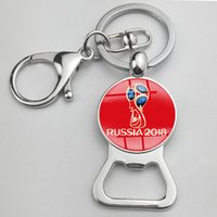 Wholesale Wholesale Mascot Charms - 2018 Russia World Cup mascot beer bottle opener zabivaka Keychains football trophy key chain ring charm pendant football fans souvenir best