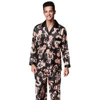 conjuntos de pijamas para parejas al por mayor-Nobel Mens Pijama Set Nueva Pareja Pijamas Lujosos Hombres Pijama Ropa de Dormir Manga Larga Marca Pantalones Traje de Casa Ropa