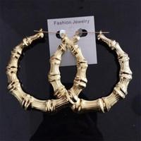 Wholesale Large Bamboo Joint Hoop Earrings Hip Hop Golden Ladies Big Circle Earring Studs Street Dance Club Star Earrings