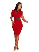 dresses for office toptan satış-Ofis Lady Çalışma Elbiseler Kadınlar Örgün Bodycon Elbise Moda Slim Fit Giyinme