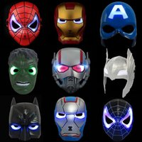 Wholesale kids spiderman cosplay for sale - LED Captain America Masks Styles Glowing Lighting Spiderman Hero Figure Cosplay Costume Party Mask LED Rave Toy OOA5455