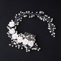 perle kopfschmuck für bräute großhandel-Korea Kopfschmuck Braut Hochzeit Haarkämme für Braut Perlen Haarbänder Frauen Haarnadeln Braut Kopfschmuck Blume Haarschmuck Zubehör