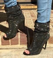chaussure de cheville peep toe noir achat en gros de-2018 Printemps Nouvelle Marque Femmes Sexy Noir Glitter Cristal Strass Peep Toe Stiletto Talon Pli Cheville Bottes Glisser Sur Talon Haut Booties