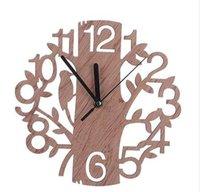 образные часы оптовых-Творческий Дерево Shaped Деревянные Настенные Часы Дом Гостиная Украшения
