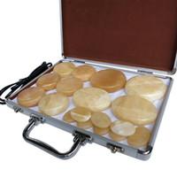 tipo massager venda por atacado-Novo tipo! 18 pçs / set massageador de corpo de pedra Quente amarelo Jade Salon SPA com caixa de aquecedor de Pedra Massagem
