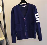 ingrosso maglione marrone del cardigan-Cardigan con cerniera lampo blu scuro e nero con cappuccio e zip riri da uomo