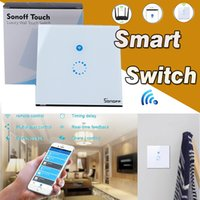Sonoff Wifi Touch Wall Switch Wifi LED Touch Timer Switch Painel de vidro Controller Light SwitchHome Controle remoto APP US EU Plug Smartphone