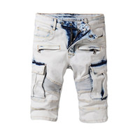 Wholesale jeans style for short men - 2018 Famous brand Balmain short jeans men tide summer designer jeans for male true biker fashion short robin rock revival jeans
