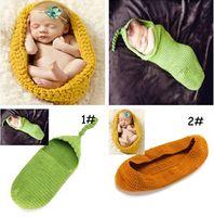 ingrosso props del bozzolo del bambino-Neonato Infantile Toddler Lovely Knitted Chunky Bozzolo Baby Pod Bowl Grande fotografia Foto Prop Bambini svegli Sacchi a pelo
