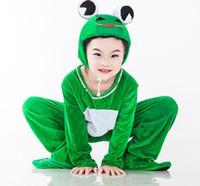 trajes de dança amarela meninas venda por atacado-Novo estilo do 2018 crianças Cosplay Green frogs Tartaruga amarela verde Adequado para meninos e meninas traje de palco Longo estilo de dança roupas
