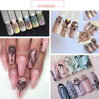 Wholesale Nail Art Stickers Black - hina water transfer decals Suppliers 1PCS Popular Black Sticker Nail Art Necklace Jewelry Cat Butterfly Pendant Manicure Tips Nail Water ...