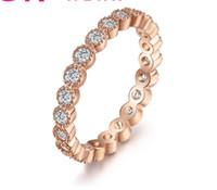 platin düğün bandosu toptan satış-gül ETERNITY BAND ENGAGEMENT DÜĞÜN değerli taş Yüzük DIAMOND benzetilmiş PLATINUM ep Boyut 6,7,8,9