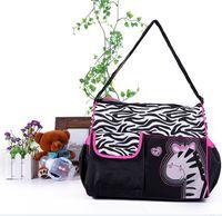 zebra druck mode großhandel-4 Farben Animal Prints Wickeltaschen Mode Cartoon Giraffe Zebra Mama Tasche mit Harnblasen Rucksäcke Multifunktions wasserdichte Handtaschen