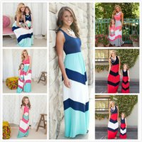 Wholesale mommy and me dresses for sale - Group buy Fashion Mother Daughter Matcing Dresses Patchwork Sleeveless Cotton Striped Color Long Dresses Mommy and Me Family Matching Outfits